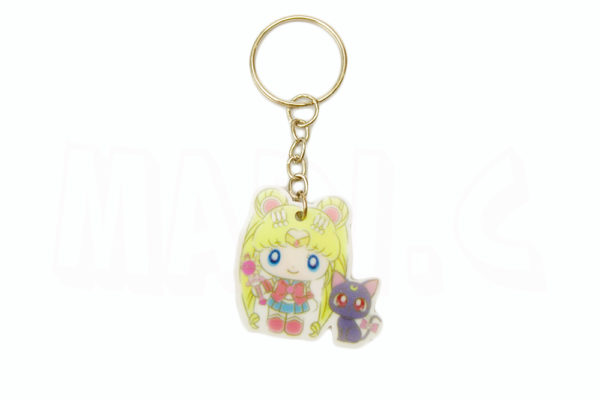 Chaveiro do Anime Sailor Moon Usagi Tsukino com Luna 1
